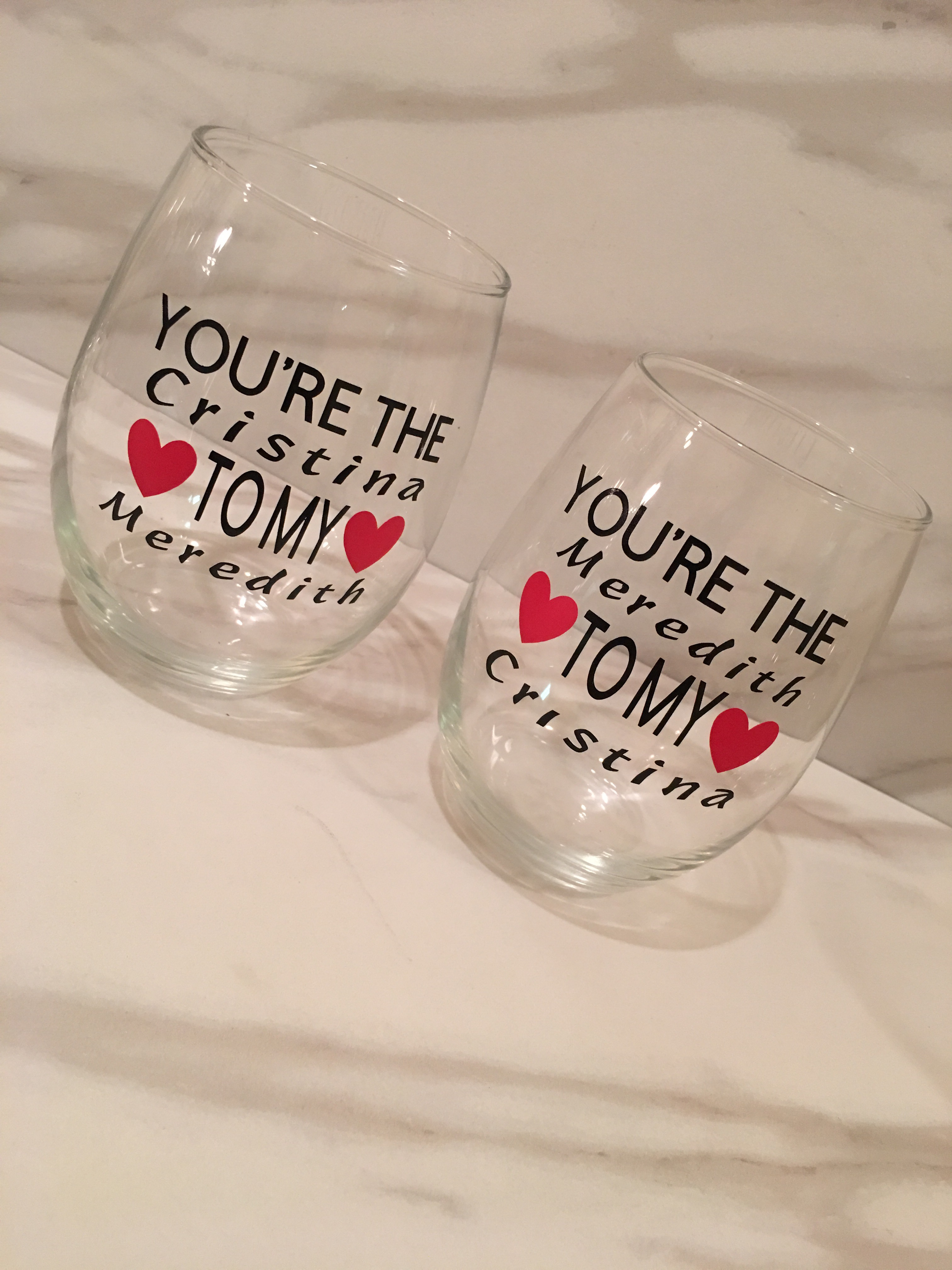 Youre the Meredith to my Cristina Youre the Cristina to my Meredith Greys Anatomy Best Friends Wine Glass Greys Anatomy Wine Glass